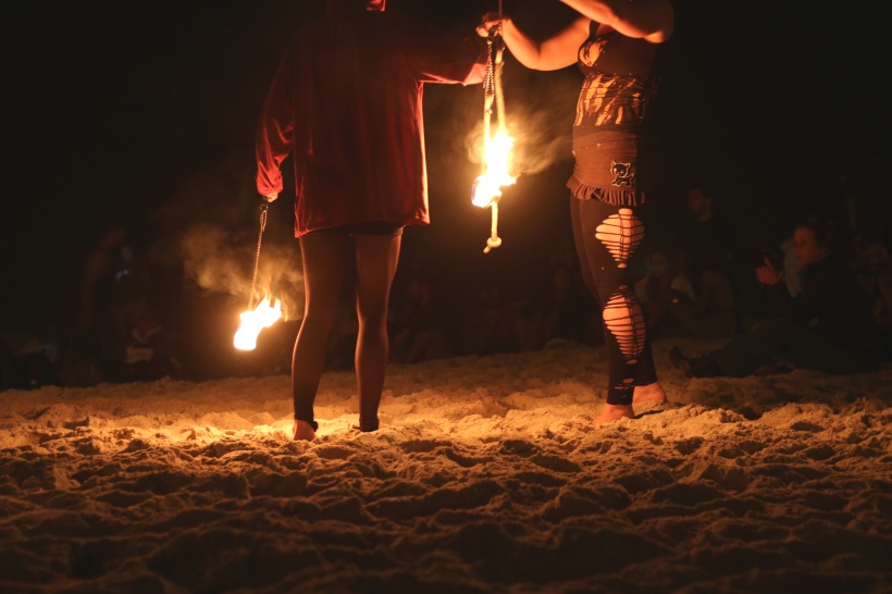 Fire dancing on the beach where like-minded people gather to watch this wonderful talent